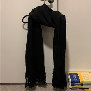 Urban Outfitters cozy long black fringed scarf!